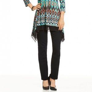 Nydj black marilyn straight leg jeans size 4 short